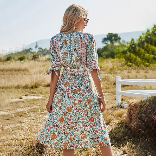 Tie-up Cuff High Waist V Neck Floral Dress