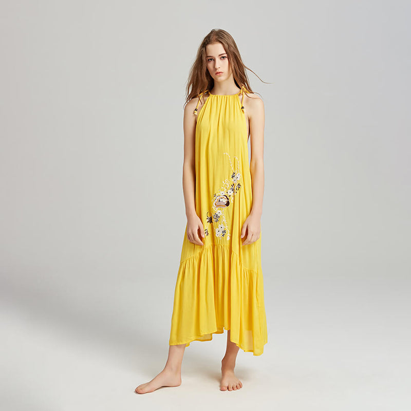 Sexy Sleeveless Strap Embroidery Loose Long Dress - Shes Lady