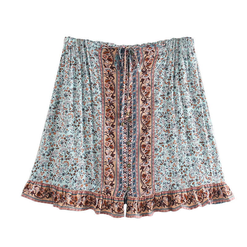 Button Up Beach Floral Mini Skirt - Shes Lady
