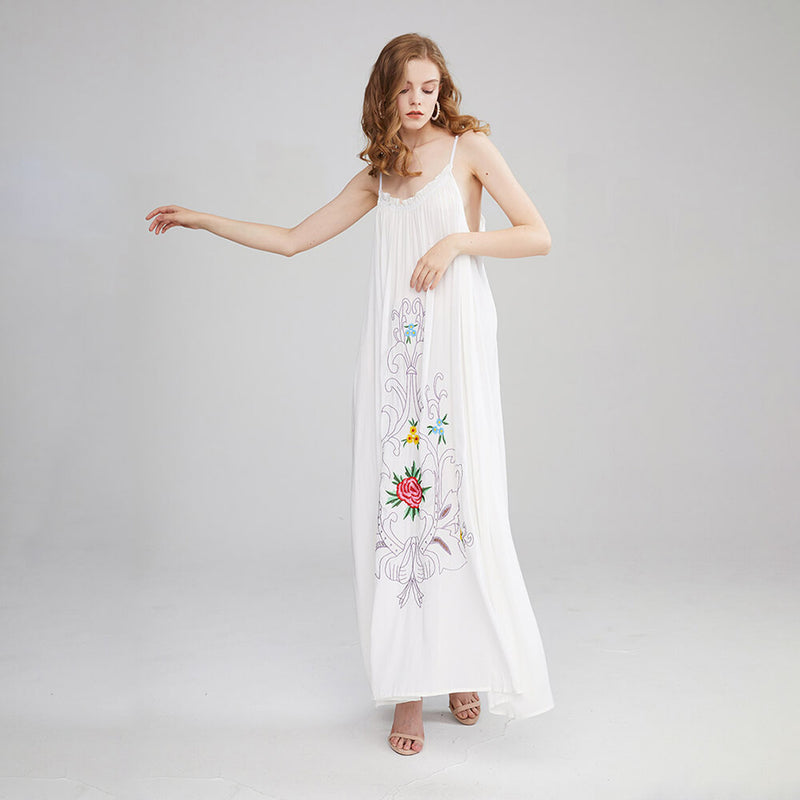 Bohemian Floral Embroidery Swing Hem Long Maxi Dress - Shes Lady