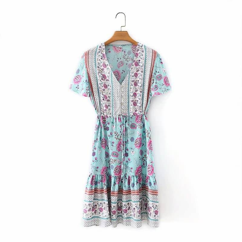 Short Sleeve Button V Floral Mini Dress -  Blue