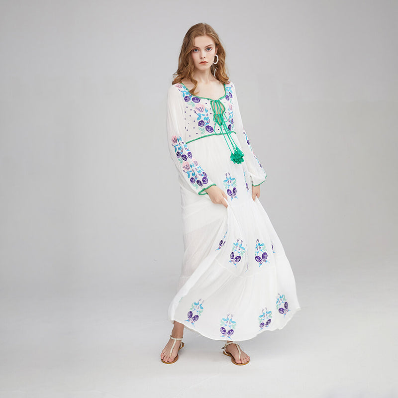 Drawstring Tassel Neck Boho Embroidery Long Sleeve Vacation Dress - Shes Lady