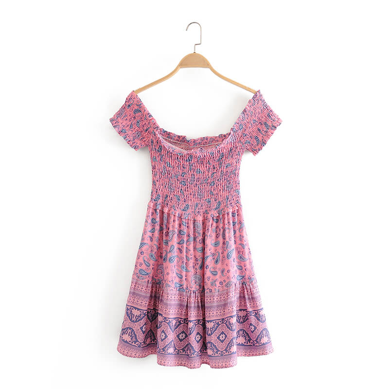 Purple Paisley Print Slash Neck Mini Dress - Shes Lady