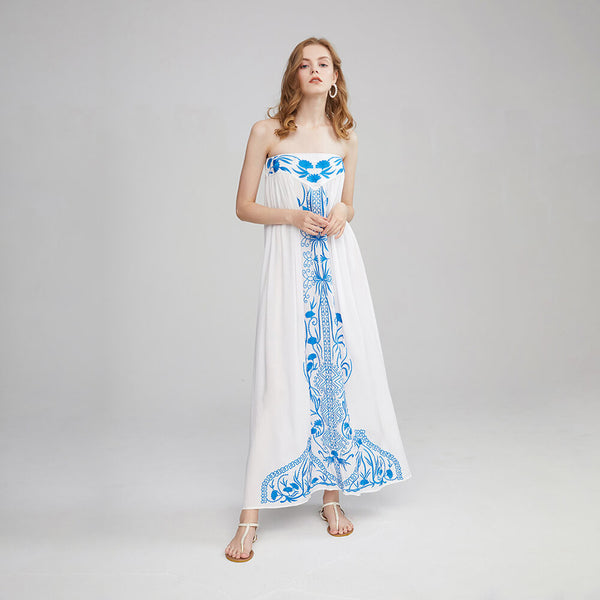 Boho Chic Embroidered Strapless Maxi Dresses - Shes Lady