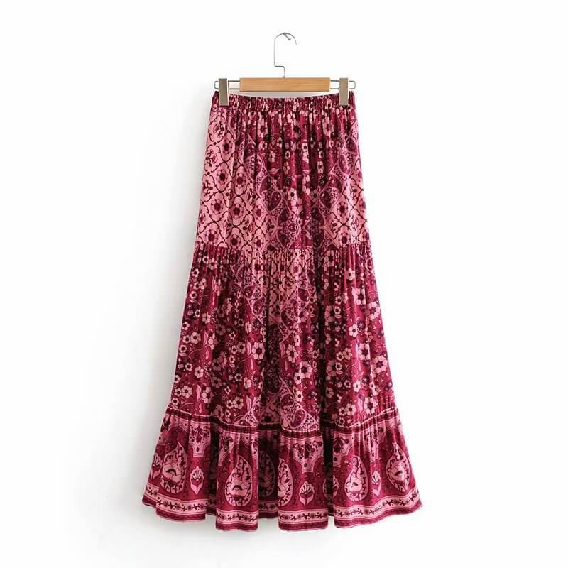 Retro Floral Elastic Wiast Skirt - Shes Lady