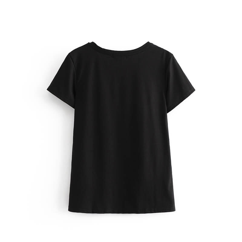 Beauty Girl Print Black Tees - Shes Lady