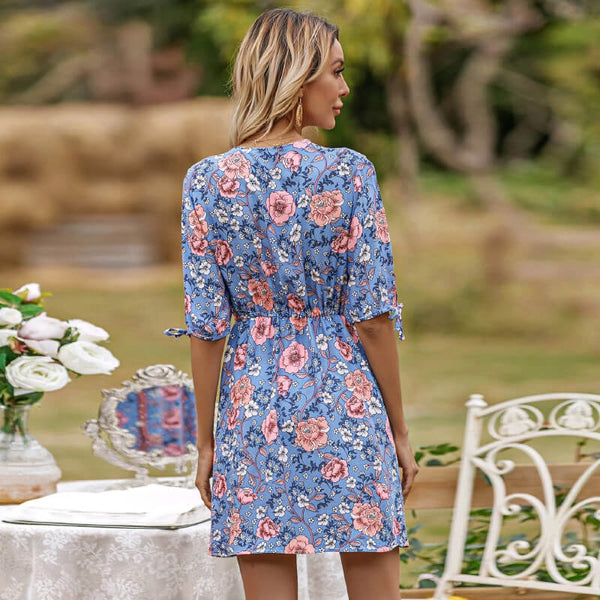Tie-up Floral Mini Dress - Blue