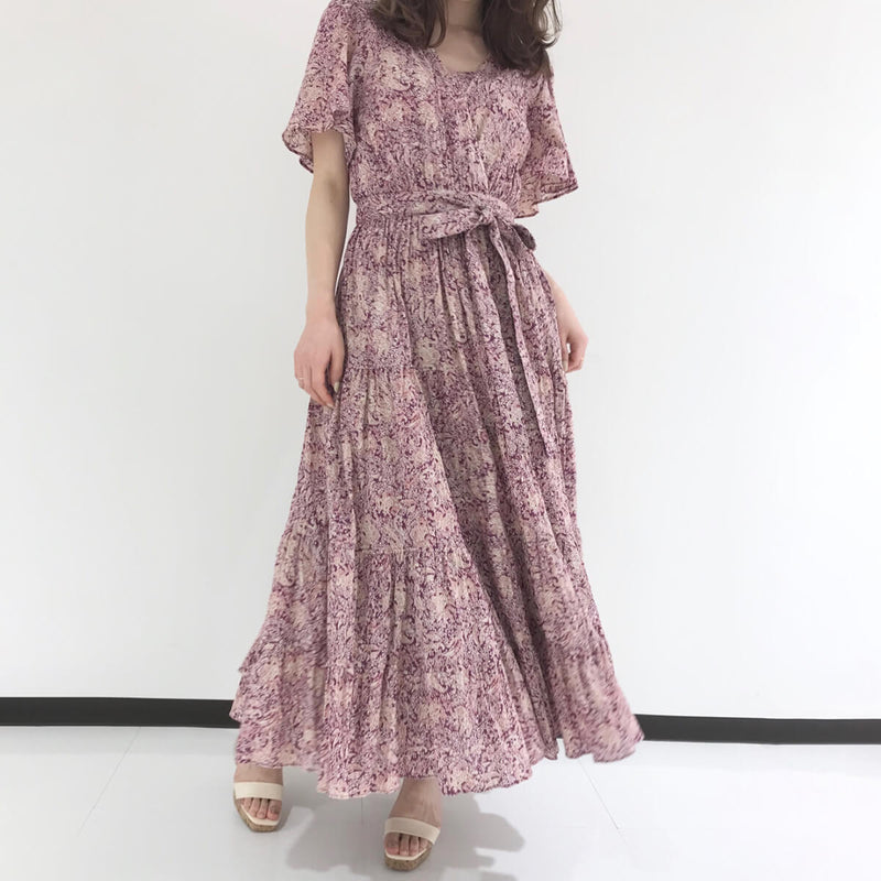 A-Line with Sashes Floral V Neck Long Dress - Shes Lady