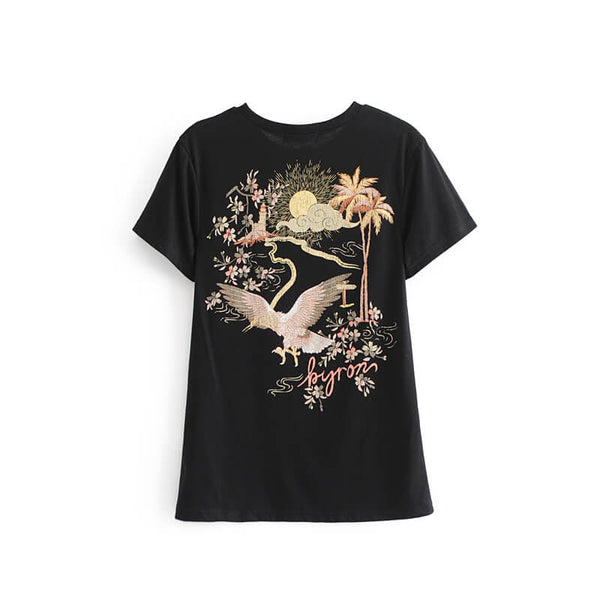 Double Side Print Black T-Shirt - Shes Lady