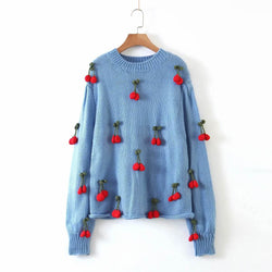 Cherry Knitted Sweater Pullovers - Shes Lady