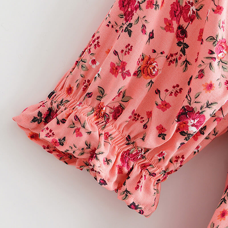 Puff Short Sleeve Square Neck Floral Long Dress - Red