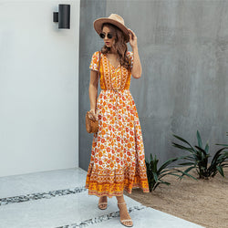 Summer Botton V Neck Floral Long Dress - Shes Lady