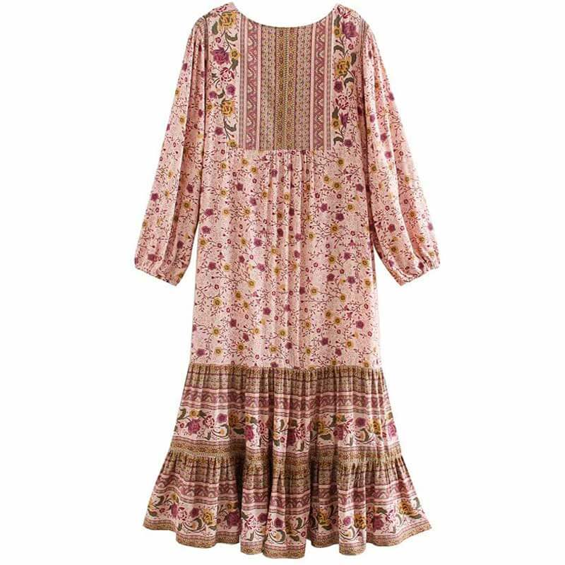 Long Sleeve Boho Floral Print Midi Dress - Shes Lady
