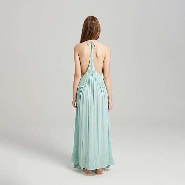 Embroidery Sexy Sleeveless Halter Maxi Dresses - Shes Lady