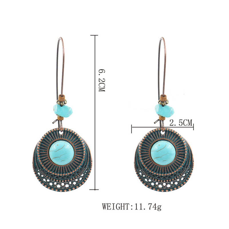 Retro Turquoise Alloy Drop Earring - Shes Lady