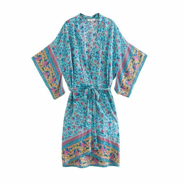 Kimono Cardigan Blouse Vacation Beach Cover Up - Shes Lady