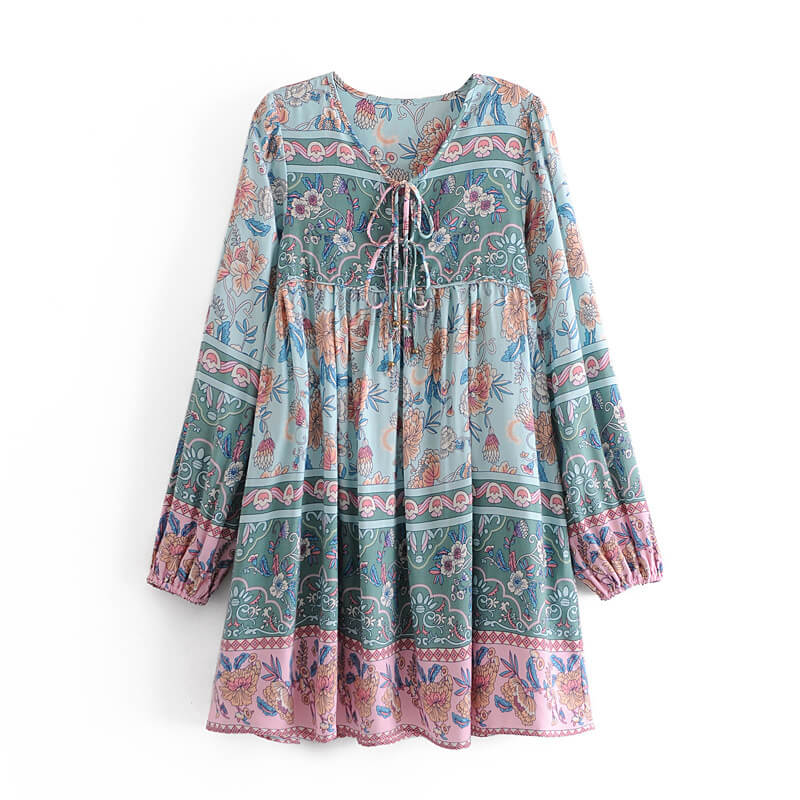Boho Chic Tie-up Front Neck Floral Blouse