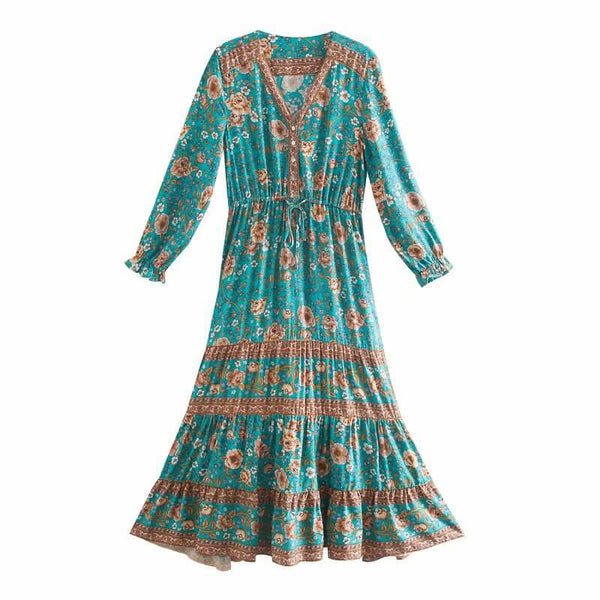 Boho Chic Floral Deep V Neck Long Dress - Green