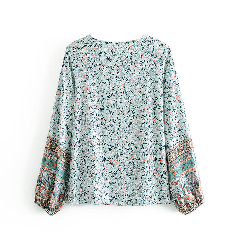 Long Sleeve Button Up Front Floral Top Blouse - Shes Lady