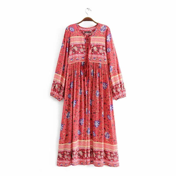 Vintage Boho Style Floral Midi Dress - Shes Lady