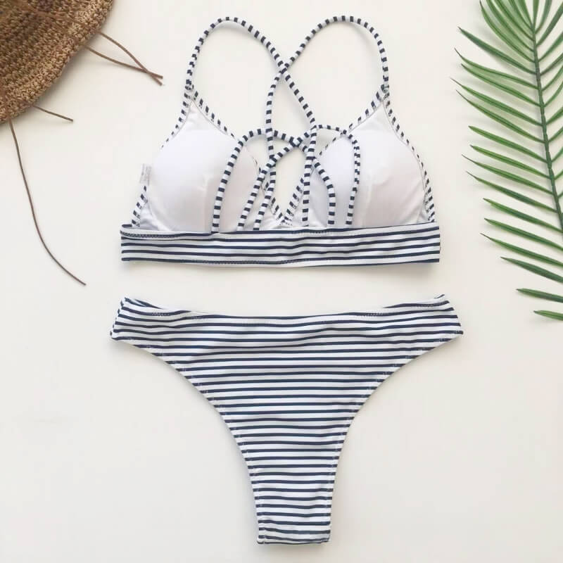 Strappy Criss-cross Back Strip Bikini Set