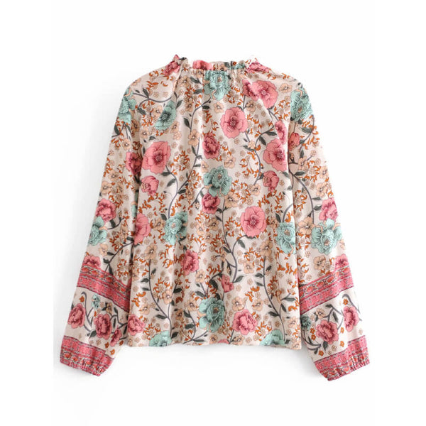 Tie-Up Frill Neck Floral Long Sleeve Blouse - Beige