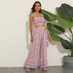 Pink Strappy Crop Top and Floral Pant - Shes Lady