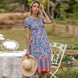 Slash Neck Short Sleeve Floral Dresses - Blue