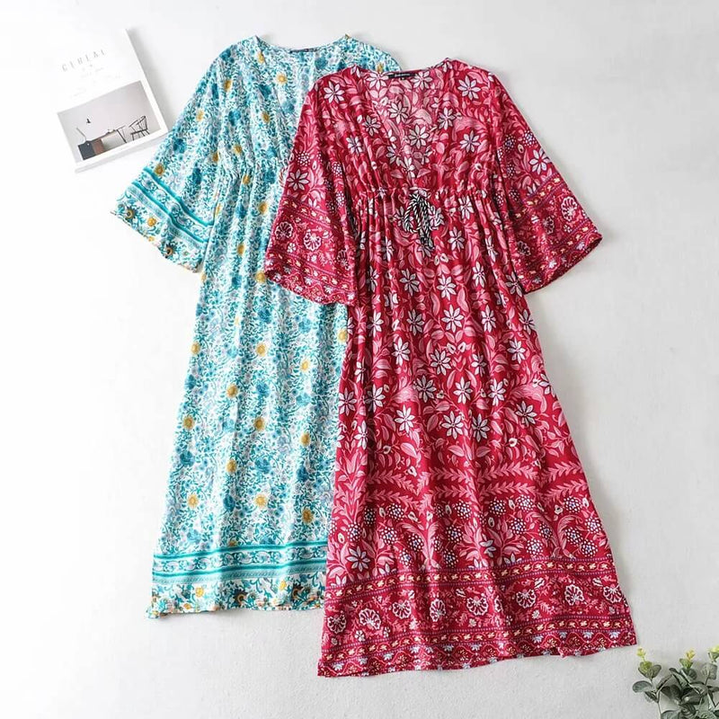 Boho Chic Drawstring Waist Floral Dress - Shes Lady