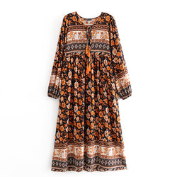 Tassel Midi Floral Long Dresses - Shes Lady