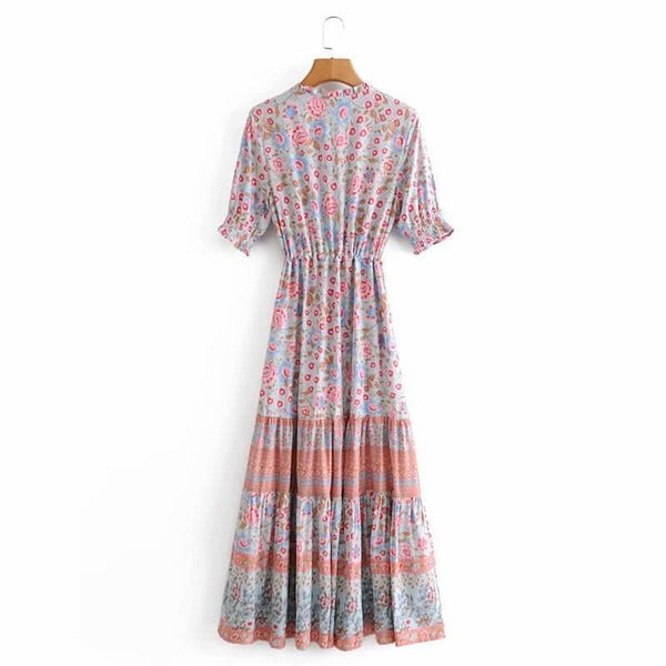 Tassel Tie Neck Elastic Half Sleeve Floral Dress