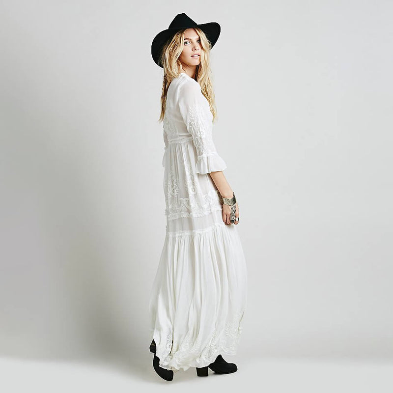 Bohemia Embroidery Cotton Blend Maxi Dresses - Shes Lady
