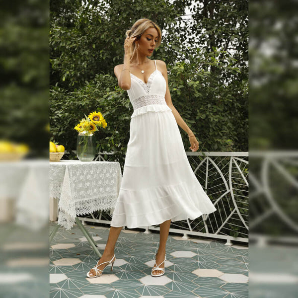 White Lace Floral Strap Midi Dress