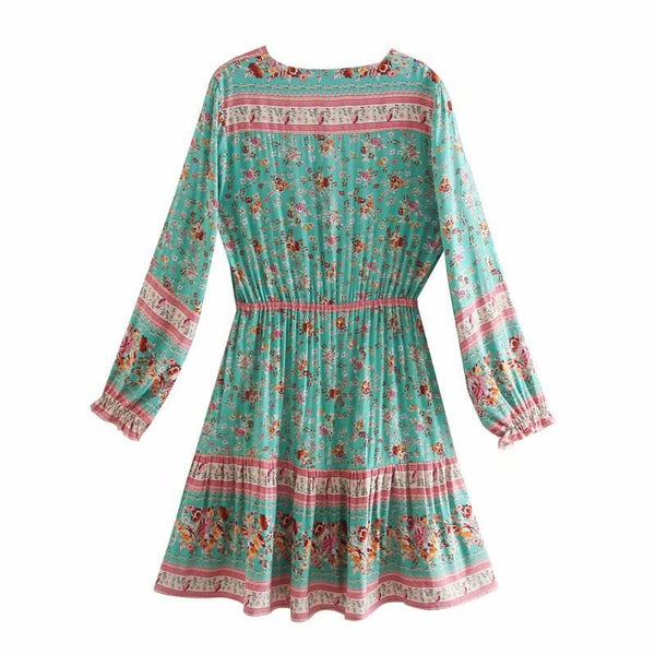 Green Long Sleeve Buttons Front Floral Mini Dress
