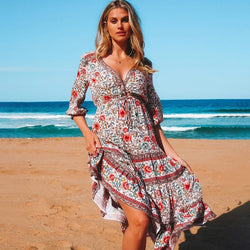 Boho Chic Floral Deep V Neck Long Dress - Beige