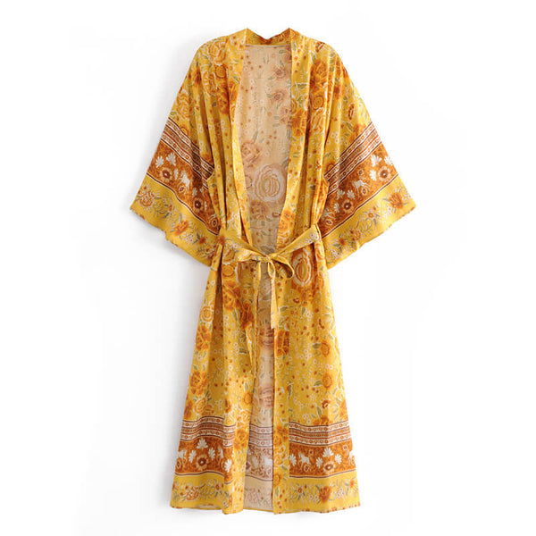 Belted Kimono Sleeve Floral Cardigan - Yellow