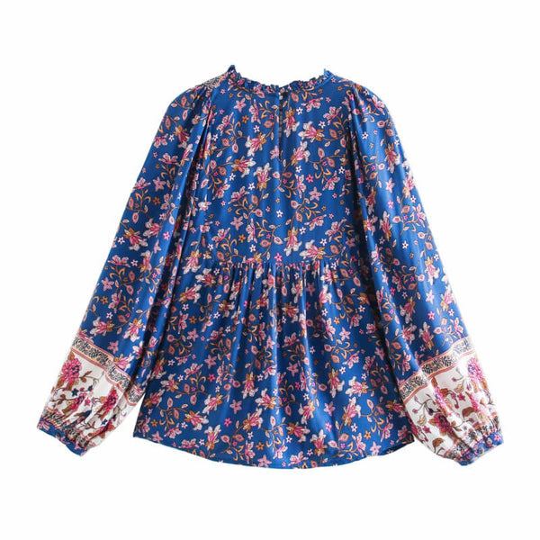 Frill Neck Floral Boho Blouse