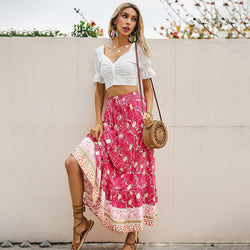 Drawstring High Waist Floral Long Skirt
