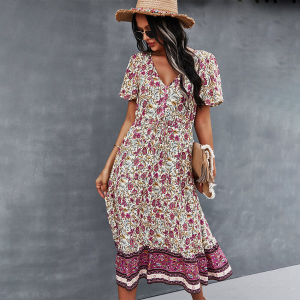 Casual Boho Floral V Neck Midi Dress