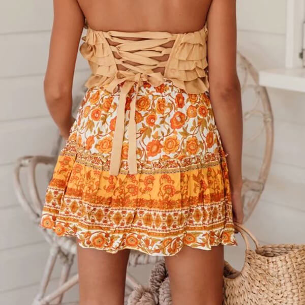 Hippie Style Floral Mini Skirt - Shes Lady