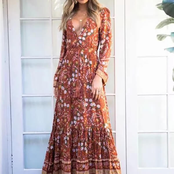Long Sleeve Sexy Deep V Neck Floral Midi Dress - Shes Lady