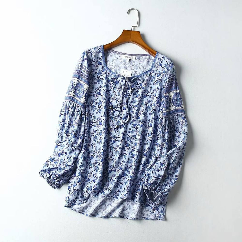 Long Sleeve Casual Floral Blouse - Shes Lady