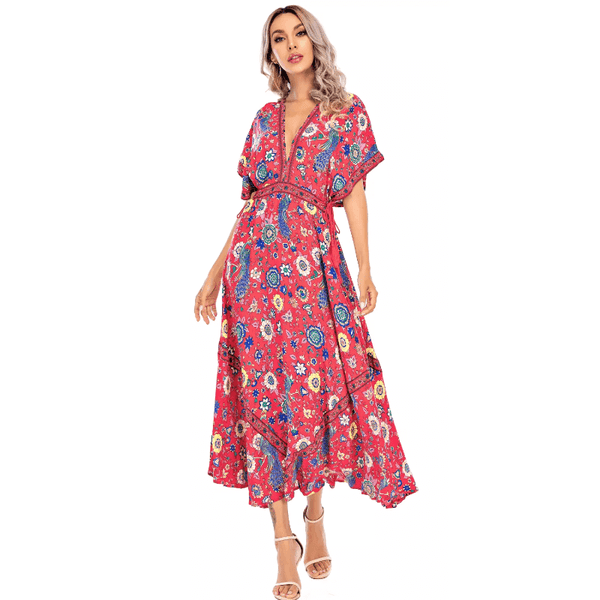 Irregular Hem Deep V Neck Boho Floral Long Dress