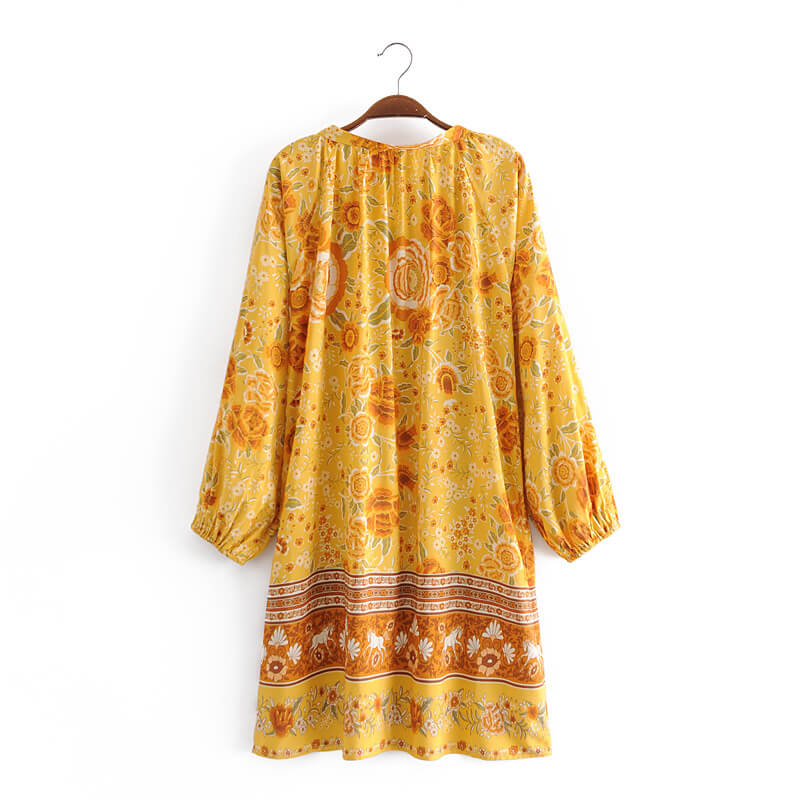 Tassel V Neck Floral Tunic Dress - Yellow