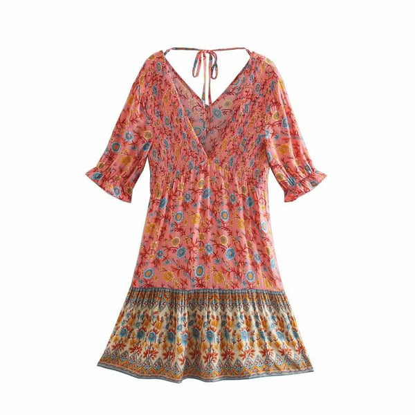 Floral V-Neck Shirred Ruffled Sleeve Boho Dresses - Pink