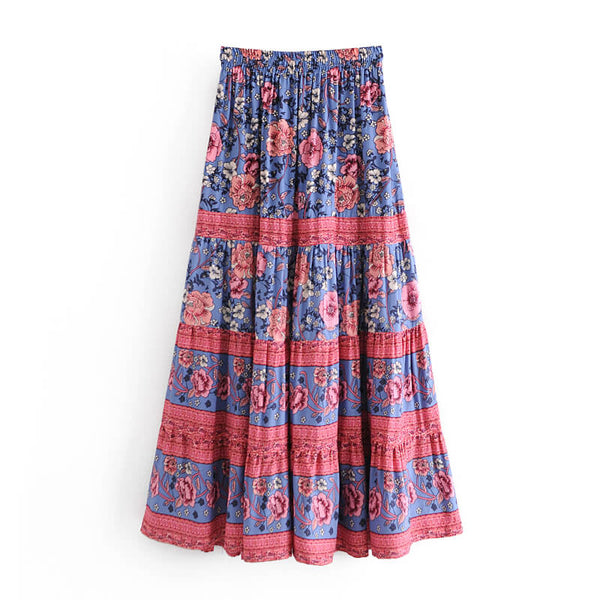Retro Boho Floral Long Skirt - Blue
