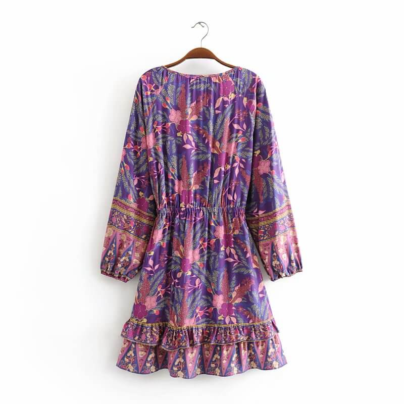 Elegant Elastic Waist Long Sleeve Floral Playdress - Shes Lady