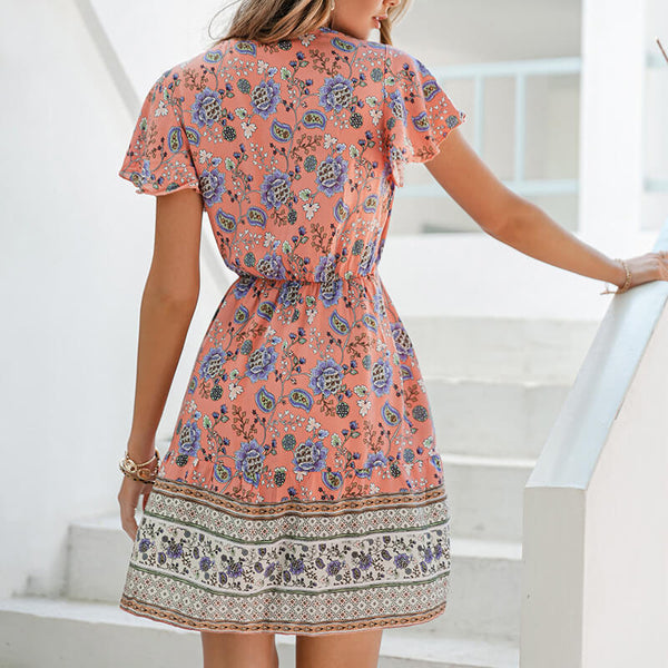 Boho Floral V Neck Drawstring Waist Mini Dress