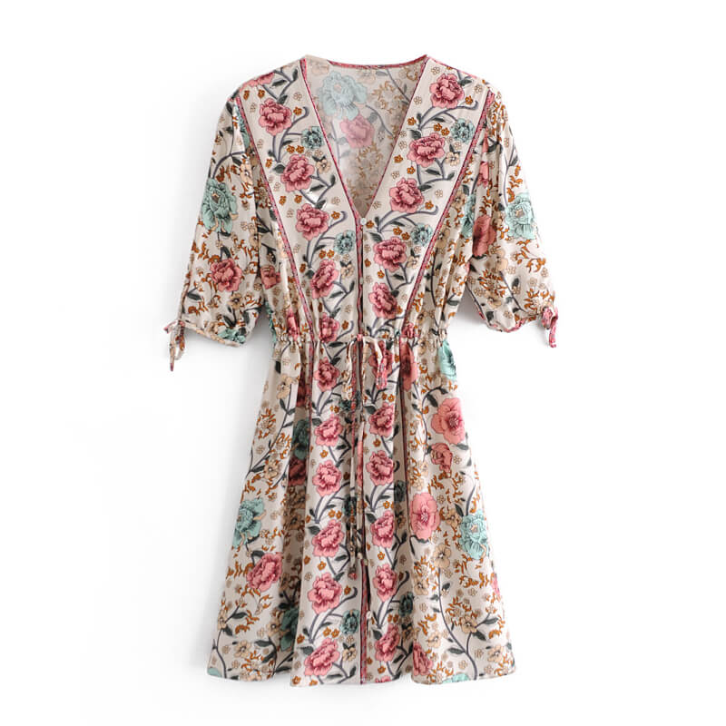 Tie-up Floral Mini Dress -Beige