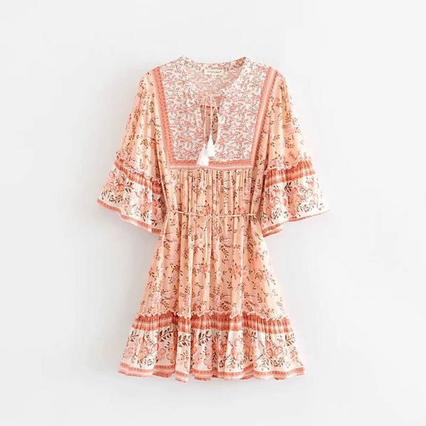 Boho Chic Floral Print Pleated Mini Dress - Shes Lady